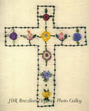 Brazilian Embroidery Pattern Cross of Roses JDR 6038