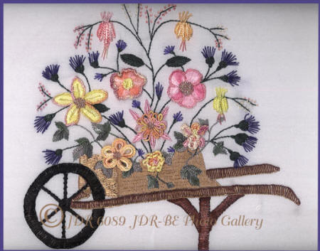Brazilian Dimensional Embroidery Design, Wheelbarrow Full of Beauty